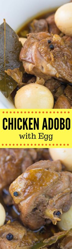 Chicken Adobo with Egg is a good version of the popular Filipino adobo wherein chicken slices are marinated in soy sauce and garlic and then cooked in a method known as inadobo. This dish is a staple in the Philippines and this can be considered as one of the all-time favorite dishes among Filipinos. The addition of hard-boiled eggs make this chicken adobo version even better #panlasangpinoy #adobo #filipinofood #filipinorecipes #pilipinas #filipino #pinoy #nomnom #foodie #food