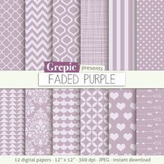 """50% Lilac digital paper: """"FADED PURPLE"""" with vintage soft purple / lilac…"""