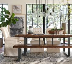 You canThe dining table is often central to the living or dining room. You can make your own pottery barn dining table or relax! Style At Home, Pottery Barn, Reclaimed Wood Dining Table, Wood Table, Furniture Upholstery, Kitchen Furniture, Rustic Furniture, Extendable Dining Table, Home Fashion