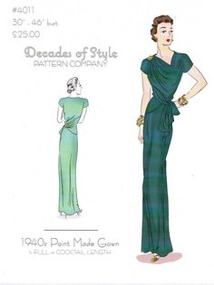 Sale! Decades of Style 1940s Point Made Gown Sewing Pattern! The Point Made gown is an undeniable classic! This vintage pattern from the 1940s includes cutting lines for a full length gown or a shorter day cocktail length dress. Its flattering design and I will be making one up ASAP! *Affiliate Link* #sewing #sewingpatterns #vintagepatterns #dresspattern