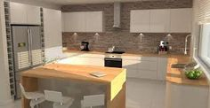 Rustic Modern Gloss Kitchen with Brick Feature Wall
