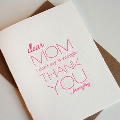 Thanks Mom, Letterpress Mother's Day card from Steel Petal Press in Chicago