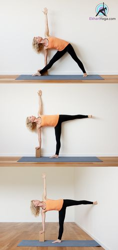 The Half Moon Pose turns out to be tricky for many of us. Here are a few ways to make it easier on yourself. Use a block, use the wall on the back to give you alignment feedback, OR your back foot against the wall for stability.