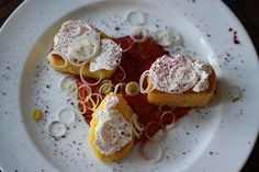 Polenta, goat cheese with red pepper puree