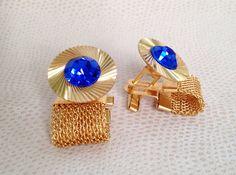 Vintage Soviet Gold Plated Cufflinks With Blue от BestVintage4You