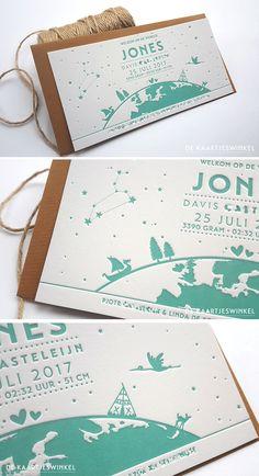 © dekaartjeswinkel.nl Letterpress geboortekaartje – Jones    Een mooi letterpress geboortekaartje. Gedrukt in een mooie grijs groene kleur voor Jones. Een halve wereldbol met verschillende afbeeldingen erop die passen bij Jones en zijn ouders. En de lucht voorzien van sterren en het sterrenbeeld leeuw.