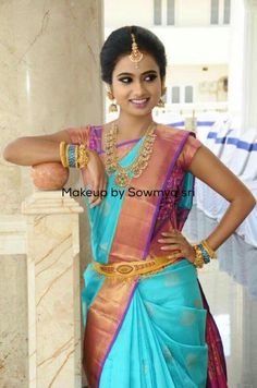 Saranya Mohan in green pattu saree....... | Beauty of ...