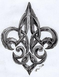 Fleur+De+Lis+Designs | Awesome Stoned Fleur De Lis Tattoo Design                                                                                                                                                                                 Más