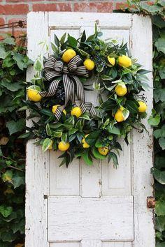 double door wreaths Farmhouse wreath for Front door with Lemons, Spring lemon wreath, Gift for Mom, Year round wreath, C Shabby Chic Kranz, Shabby Chic Wreath, Double Door Wreaths, Lemon Wreath, Year Round Wreath, Front Door Decor, Front Doors, Front Porch, Diy Wreath