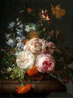 Antique still life flower painting by Rachel Ruysch