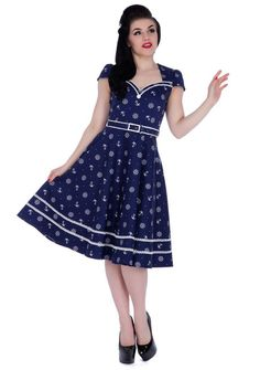 Inked Boutique - Joni Nautical Print Flare Dress Retro Vintage Rockabilly Pin Up Anchors Ships Wheel http://www.inkedboutique.com