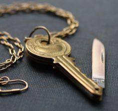 Brass Key Shaped Pocket Knife