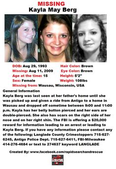 """Current Missing Person flyers from Wisconsin in the 2000s To assist with Amber Alerts and missing person cases through flyer and picture sharing on Facebook please """"Like"""" Rapid Search and Rescue on Facebook: facebook.com/RapidsSAR Follow us on twitter also @Rapid_SAR"""