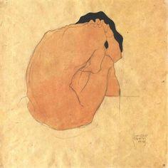 Egon Schiele - 'Frau Beugte Sich auf Sich aselbst' -(1910)