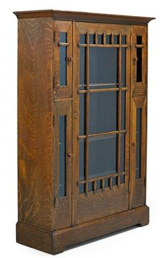 Furniture: Cabinet-China; Arts & Crafts, Shop of the Crafters, Flared Cornice, 5 Glazed Doors, Plinth Base.