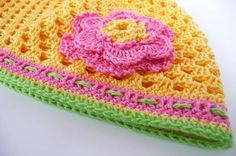 Crochet girl summer hat with flower accessorieschildren by Sissta, $22.00