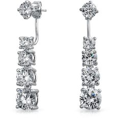 Bling Jewelry Bling Jewelry Graduated Clear Cz Drop Ear Jacket... ($18) ❤ liked on Polyvore featuring jewelry, earrings, clear, cubic zirconia earrings, rhodium plated earrings, cubic zirconia jewelry, round earrings and clear earrings