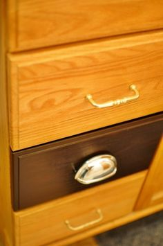 "Re-do honey oak (wooden or laminate) cabinets or furniture with ""General Finishes Java Gel Stain"" (absolutely NO substitutions for this brand!) No brushing!  Wipe gel stain on with men's white sock."