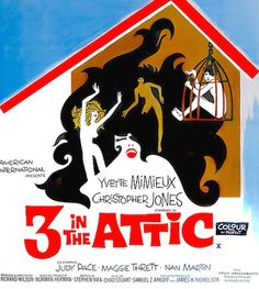 """3 IN THE ATTIC 1968 movie. When the girls discover he's been using them, they decide to kill him...by sex! They lock him in an attic and over a period of weeks """"force"""" him to have sex him until he becomes so weak he nears death. Kind of makes owning a home not a bad idea. On DVD."""