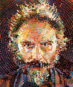 Painted by Chuck Close, the artist with Face Blindness (clinically, lacks the neural network to recognize faces)