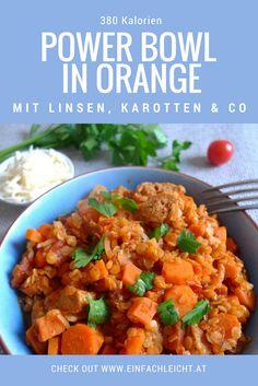 Da ist alles drin was gut ist und Power gibt: Linsen, Karotten, Süßkartoffeln, Sojaschnetzel. Low-carb, kalorienarm und total gut!