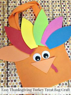 Need Thanksgiving Crafts for Kids? Try this easy Turkey Treat Bag craft! Thanksgiving Crafts For Kids, Autumn Crafts, Crafts For Kids To Make, Thanksgiving Recipes, Easy Preschool Crafts, Kids Crafts, Turkey Craft, Business For Kids, Treat Bags
