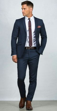 Blue Suit: 20 Photos of Inspiration – Men's Fashion & Co. Stylish Men, Men Casual, Casual Wear, Casual Suit, Terno Slim, Blue Suit Men, Blue Suit Brown Shoes, Man In Suit, Suit For Men