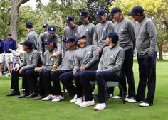 Ryder Cup USA team photo on the second preview day of The 39th Ryder Cup at Medinah Country Golf Club. The USA team includes: Front row L-R: Phil Mickelson, Matt Kuchar, Davis Love III (captain), Tiger Woods and Keegan Bradley. Back row: L-R: Zach Johnson, Webb Simpson, Jim Furyk, Bubba Watson, Dustin Johnson, Brandt Snedeker, Steve Stricker, Jason Dufner — Chuck Berman, Chicago Tribune, Sept. 25, 2012