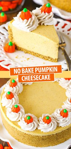 This creamy No Bake Pumpkin Cheesecake is easy to make and delicious for fall! It's packed with pumpkin, yummy spices and topped with homemade cinnamon whipped cream. #pumpkincheesecake #pumpkincheesecakerecipe #nobakecheesecake #nobakepumpkincheesecake #easypumpkincheesecake #easynobakecheesecake #bestnobakecheesecake #bestpumpkincheesecake Best No Bake Cheesecake, Pumpkin Cheesecake Recipes, Cinnamon Roll Cheesecake, Pumpkin Recipes, Cheesecake Bars, Fall Desserts, Just Desserts, Potluck Desserts, Dessert Recipes