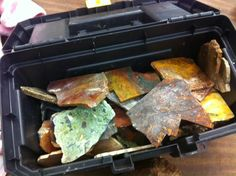 Rocks that will be cut and polished at the Huntsville Gem and Mineral Society's lapidary shop