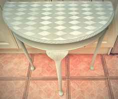 Loving this half moon table painted in frenchic scotch mist with stencilled detail xx Half Moon Table, Painted Coffee Tables, Eco Friendly Paint, Paint Colours, Furniture Inspiration, Scotch, Chalk Paint, Painted Furniture, Interiors