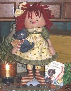 Coisinhas Cloth: country doll  (page 1 of 3) Raggedy Ann doll with cat)     ^^^^^^^^^^^^