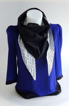 Foulard, Echarpe Triangle, chèche, graphique blanc noir bleu, dos uni noir   18e898f930e