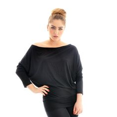 Plus size Top- Black Oversize Plus Size Tunic / Top with bat sleeves (made to measure) $69.00