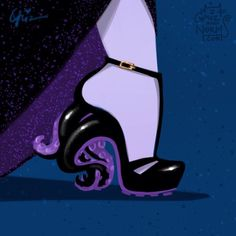 Now Ursula and Lady Gaga have something in common, a pair of out-of-this-world Alexander McQueens. These Designers Reinvented Disney Princesses' Shoes And They Are Amazing Disney Fan Art, Disney Pixar, Walt Disney, Disney E Dreamworks, Disney Artwork, Disney Villains, Disney Animation, Disney Style, Disney Love