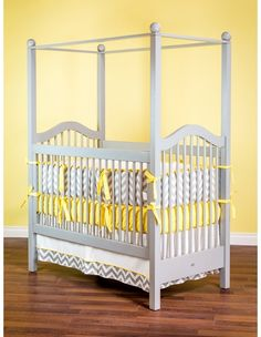 The Haven Crib with Canopy is a marvelous choice for your little one. The four tall posts of the Haven Crib will draw attention to the beautiful centerpiece of any nursery. We make our cribs to adhere to the highest safety standards. Baby Bedroom, Baby Boy Rooms, Baby Cribs, Nursery Room, Baby Bedding, Kids Rooms, Yellow Nursery, Nursery Neutral, Newport Cottages