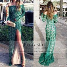 Vestido De Renda 2015 New Elegant Green Lace Long Sleeve Evening Dresses Sexy Off the Shoulder High Slit Long Formal Prom Dress