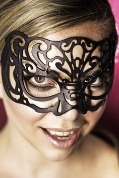 Leather mask in black Victoriana by TomBanwell on Etsy, $39.00