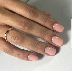 Soft pink nails and a dainty gold ring #style #daintyjewelry #Spring