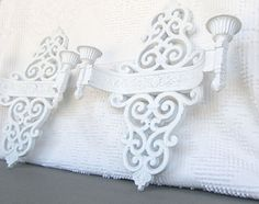 White Ornate Candle Sconces..Upcycled Painted Vintage by BeautiSHE, $28.00