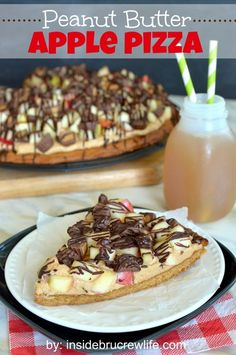 Peanut Butter Apple Pizza - peanut butter cookie topped with peanut butter filling, fresh apples, and Reese's peanut butter cups...you will ...