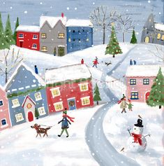 Snowy Village - Treloar's Charity Christmas Cards A pack of ten cards featuring a charming illustration depicting village life on a snowy day as people are out walking their dogs, with robins perched by a snowman Illustrated by Laura Coleman All proceed Charity Christmas Cards, Cute Christmas Cards, Christmas Poster, Christmas Mood, Rustic Christmas, Vintage Christmas, Xmas Cards, Illustration Noel, Winter Illustration