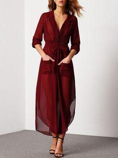Chiffon Kleid 2017 V-Ausschnitt mit Leibbinde-rot