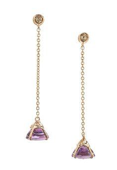Amethyst, diamond, and rose gold earrings (Tanari Jewelry)
