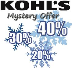 Kohls Mystery Savings Coupon: or Valid on only. Kohl's Mystery Savings Coupon: or will be emailed to those on the Kohl's email list the morning of Valid for same day use only Cheap Online Shopping Sites, Cheap Stores, Kohls Printable Coupons, 30th, 21st, Daily Deals Sites, Deal Sites, Mystery, Like4like