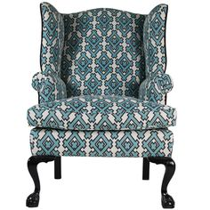 English Wing Chair with fabric by David Hicks