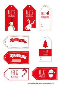 FREE Printable Christmas tags in Spanish! Noel Christmas, Christmas Gift Wrapping, Christmas Gift Tags, Christmas Crafts, Christmas Decorations, Xmas, Spanish Christmas, Nouvel An, Diy Weihnachten
