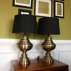 Vintage Pair Brass Lamps Ginger Jar Hollywood Regency Desk Light Brass Home Office Desktop Library Entryway Bedside Industrial Lighting