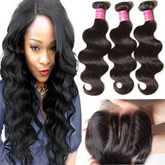 ALI JULIA 8 10 1210 Inch Brazilian Virgin Body Wave Hair Weft 3 Bundles with 1PC 44 Three Part Lace Closure 100 Unprocessed Human Hair Weave Extensions Natural Color * Find out more about the great product at the affiliate link Amazon.com on image.
