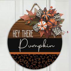 Fall Wooden Door Hangers, Wooden Door Signs, Wooden Doors, Wood Signs, Fall Home Decor, Autumn Home, Pumpkin Door Hanger, Fall Door Decorations, Stapler
